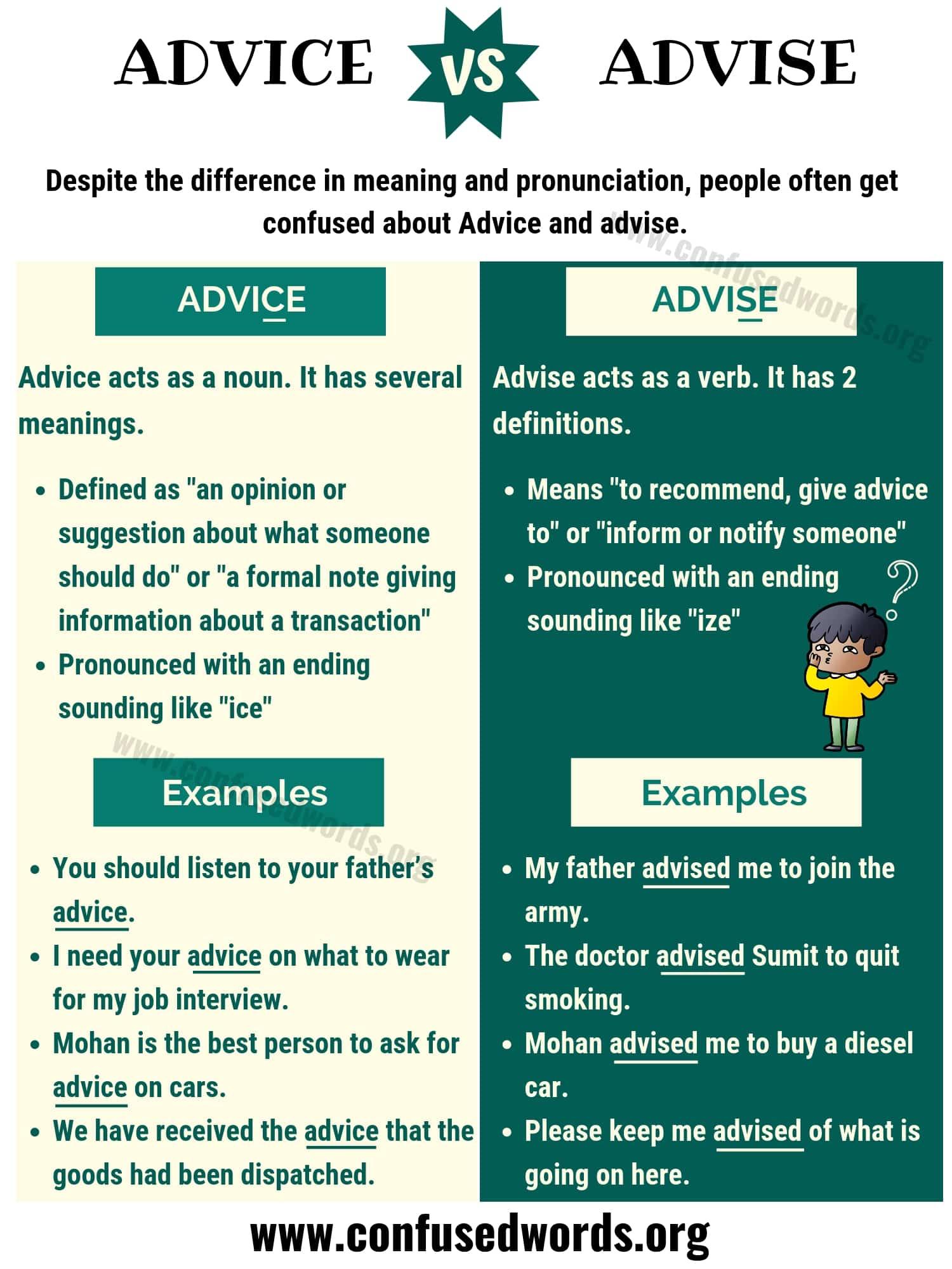 ADVICE vs ADVISE