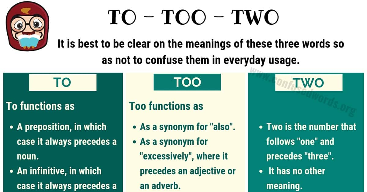 TO TOO TWO - Difference between Too vs To vs Two