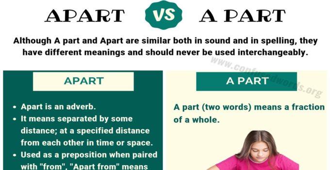 Apart vs A Part