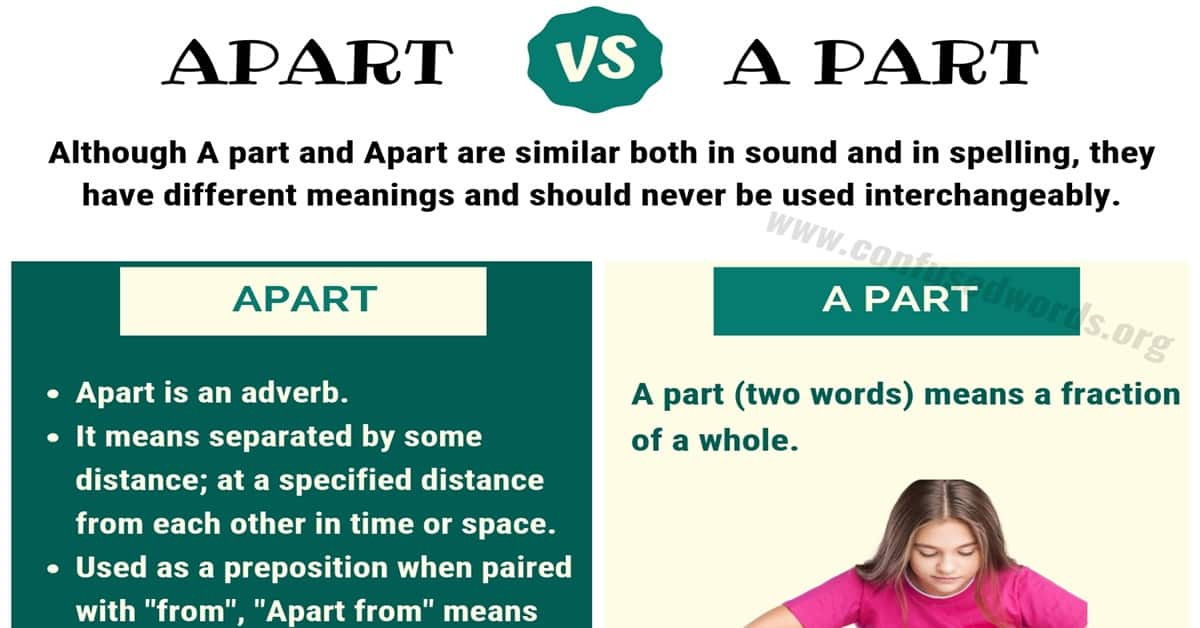 APART vs A PART: How to Use A Part vs Apart in Sentences ...