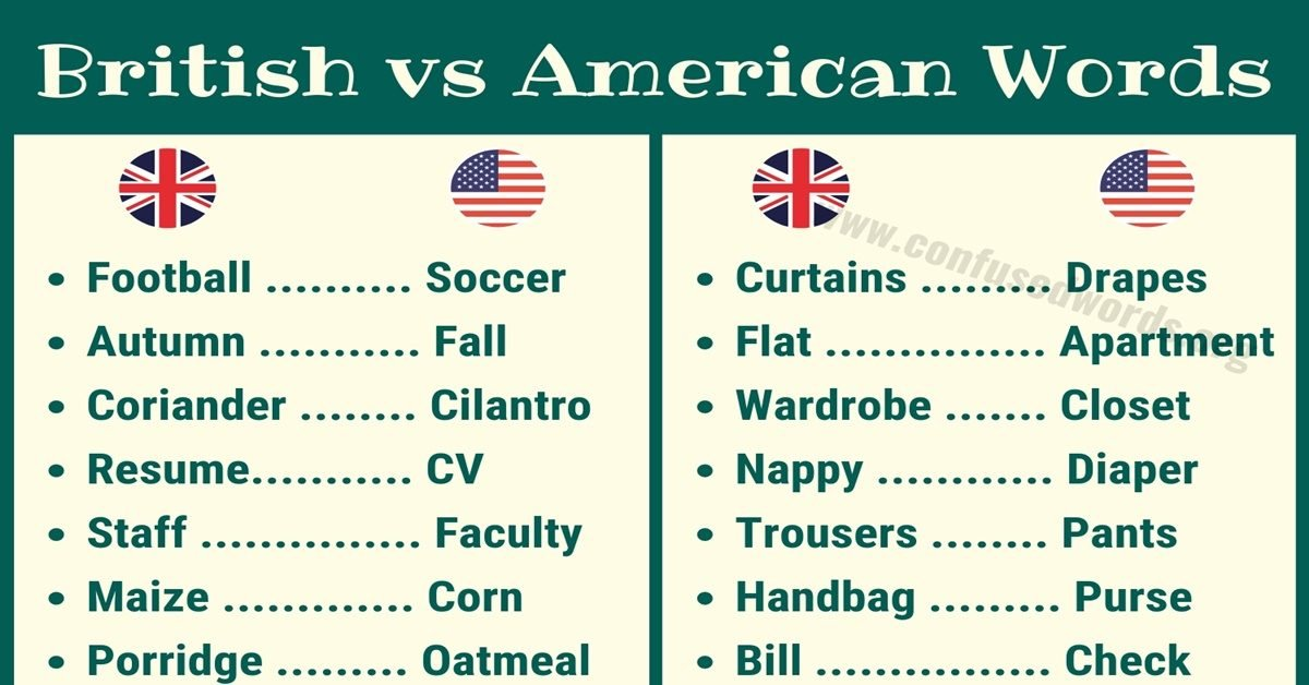 British vs American Words: Useful List of British and American