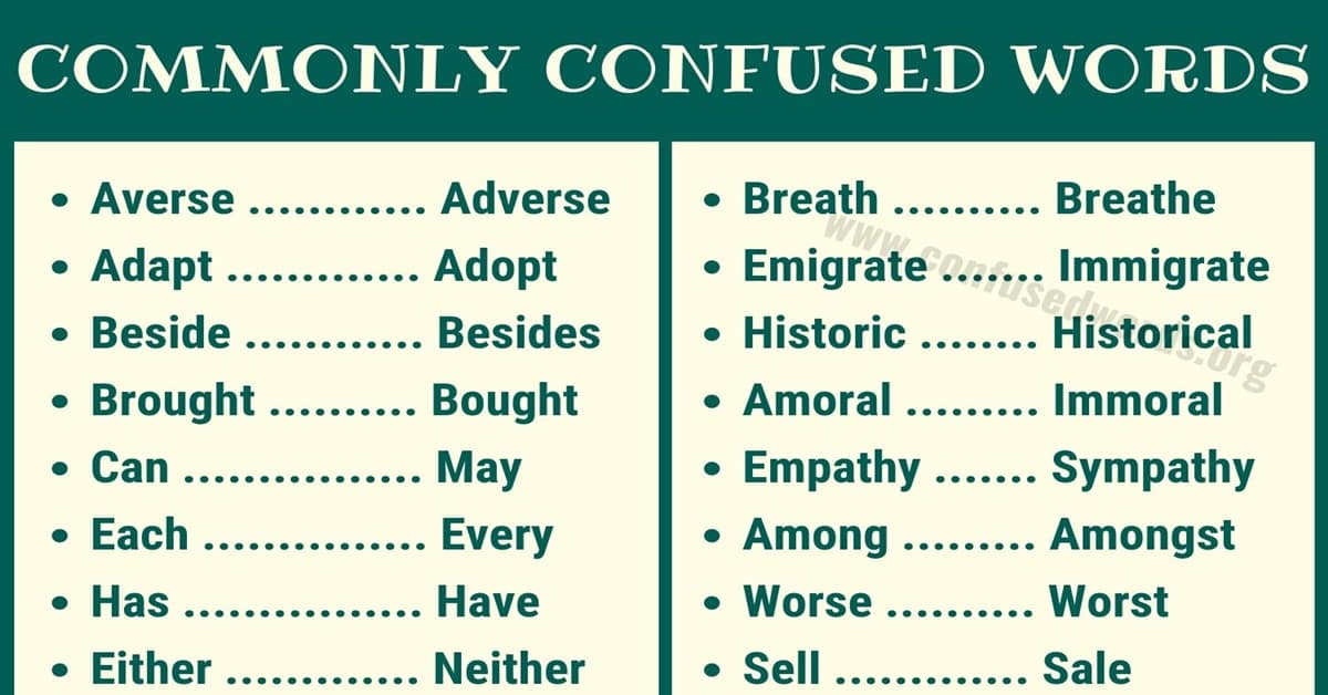 Difference Between - Commonly Confused Words