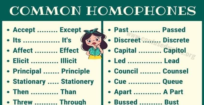 Homophones List in English