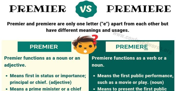 PREMIER vs PREMIERE: How to Use Premiere vs Premier Correctly