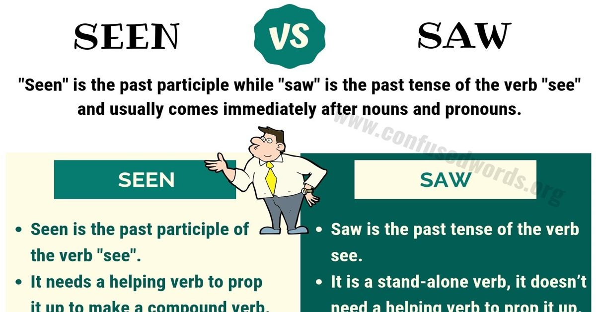 SEEN vs SAW: How to Use Saw vs Seen in English? - Confused Words