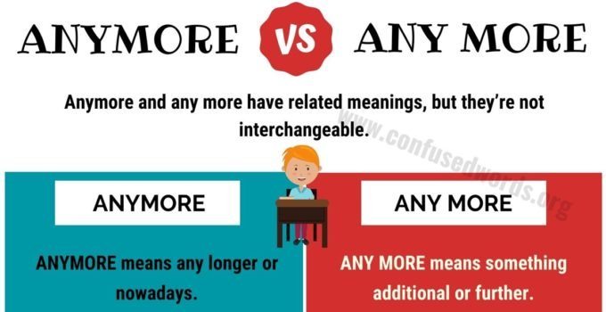 ANYMORE vs ANY MORE: How to Use Anymore or Any More in English?
