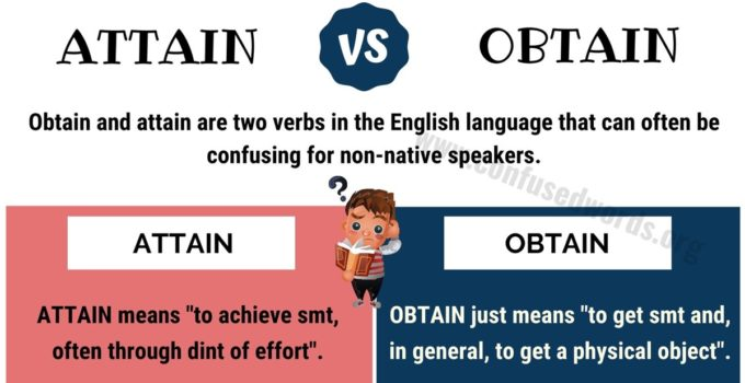 ATTAIN vs OBTAIN: Difference between Obtain vs Attain with Useful Examples