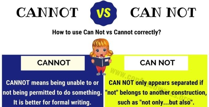CANNOT or CAN NOT: How to Use Can Not or Cannot in English?